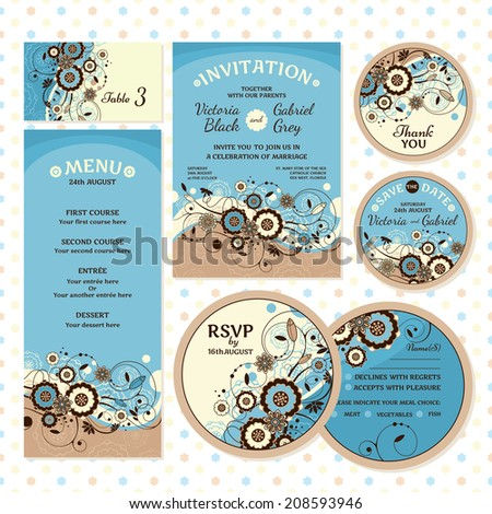 Set of wedding cards. Wedding invitation, Thank you card, Save the date card, Table card, RSVP card and Menu. - stock vector