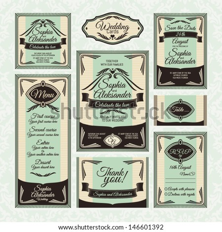 Set ?4 of wedding cards. Wedding invitations, Thank you card, Save the date card, Table card, RSVP card and Menu.