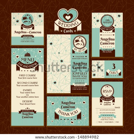 Set of wedding cards. Wedding invitations, Thank you card, Save the date card, Table card, RSVP card and Menu. - stock vector