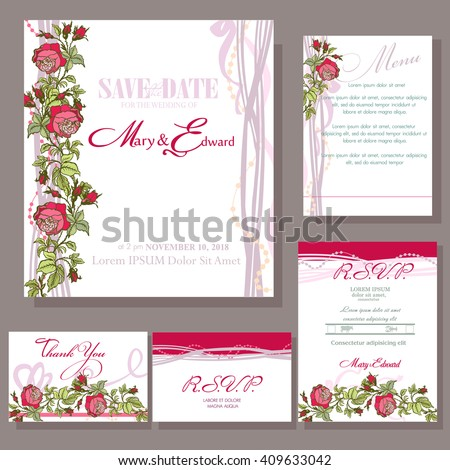 Set of wedding cards with red rose. RSVP and menu card