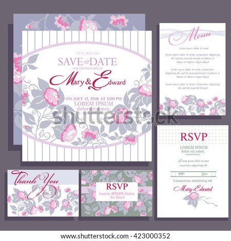 Set of wedding cards with roses. RSVP and menu card