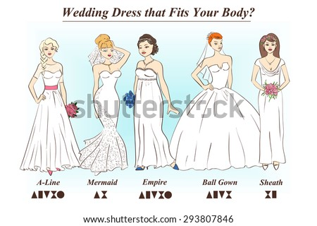Set Of Wedding Dress Styles For Female Body Shape Types Women In