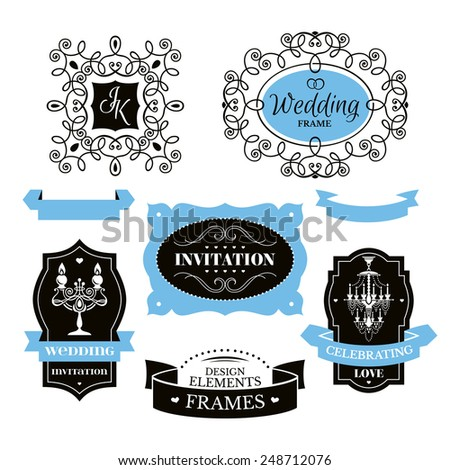 Set of wedding frames and labels vector illustration - stock vector