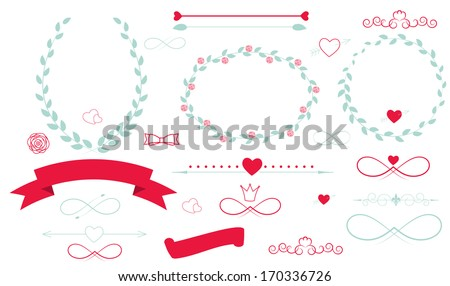 Set of Wedding Graphic Elements with Arrows, Hearts, Laurel,  Ribbons and Labels Vector Illistration - stock vector
