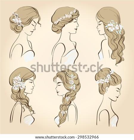 -vector-set-of-wedding-hairstyles-set-of-wedding-hairstyles-sketch ...