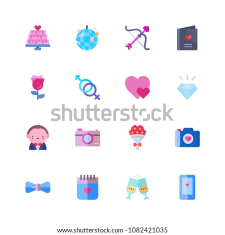 Set Wedding Icons Flat Style Invitation Stock Vector 1082421035