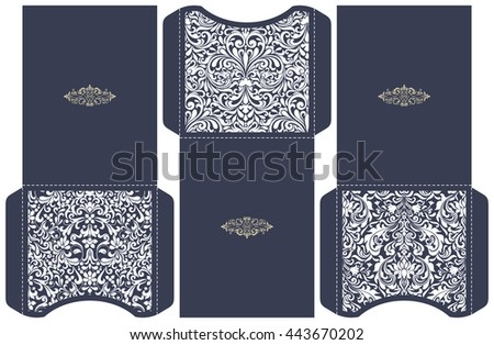 Set of 3 Wedding Invitation Baroque. Template for laser cutting. Open card. It can be used as an envelope.
