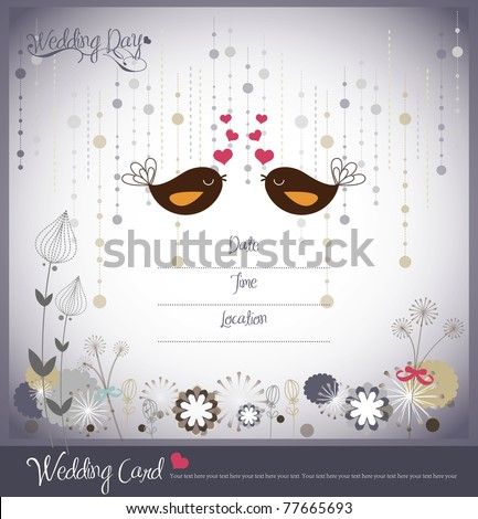 set of wedding invitation card - stock vector