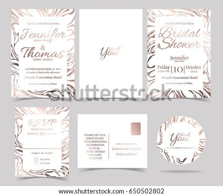 Set wedding invitation card rsvp card stock vector hd royalty free set of wedding invitation card rsvp card bridal shower card sticker and marble stopboris Gallery