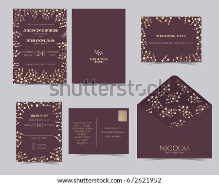 Set wedding invitation card template babys breath em vetor stock set of wedding invitation card templatebys breath collectionvp card red and stopboris