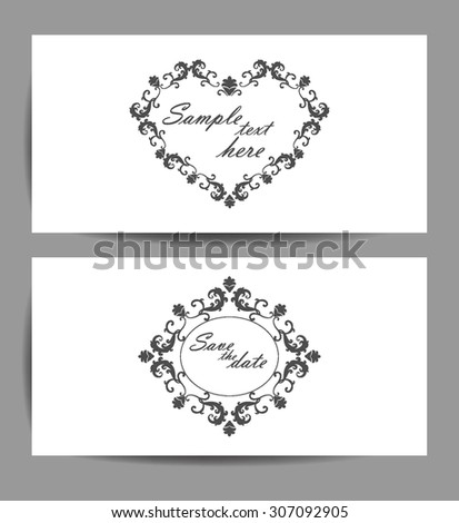 Set Wedding Invitation Card White Background Classic Shapes Stock