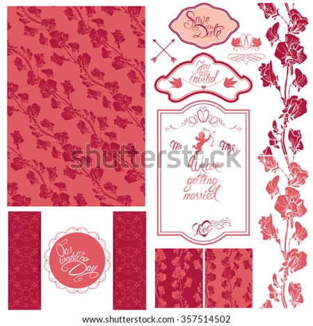 Set of Wedding invitation card with floral elements, frames and borders, flowers, vignette, calligraphic handwritten text, angel, holiday pink background.