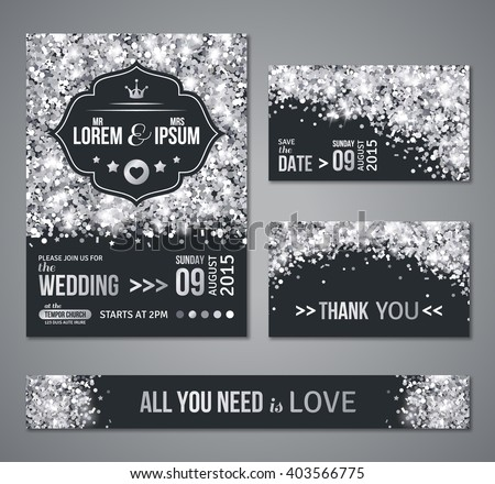 Set wedding invitation cards design silver stock photo photo set of wedding invitation cards design silver confetti and black background vector illustration stopboris Gallery