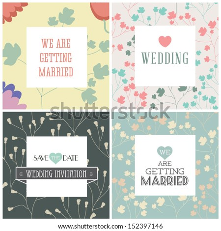 Set of wedding invitation cards. Vector illustration. Seamless pattern can be used for wallpaper, web page background, pattern fills,surface textures... - stock vector