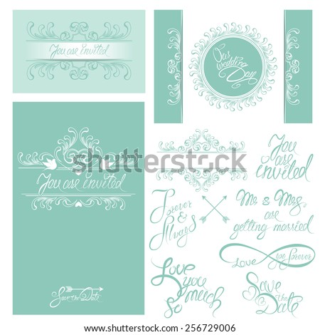 Set of Wedding invitation cards with floral elements, calligraphic handwritten text, background in blue colors.
