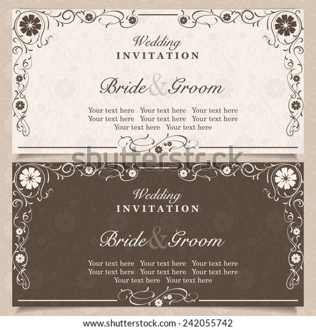 Set of wedding invitation cards with floral elements, vector illustration
