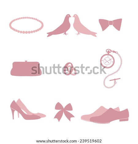 Set of wedding invitation vintage design elements. Vector. - stock vector