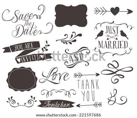 Set of wedding invitation vintage typographic design elements - stock vector