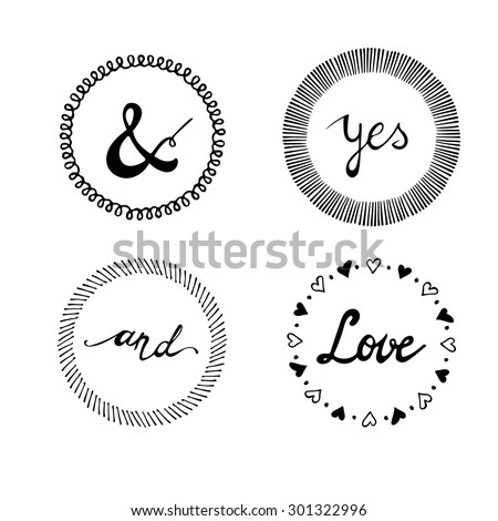 Set of wedding invitation vintage typographic design elements. Hand lettering - stock vector