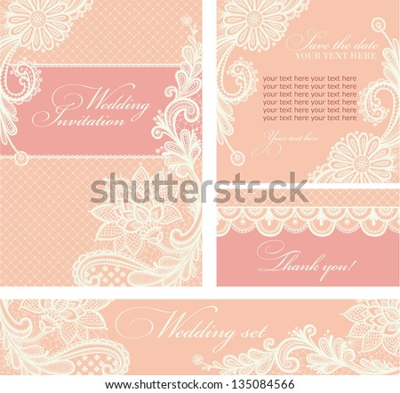 Set of wedding invitations and announcements with vintage lace background. - stock vector