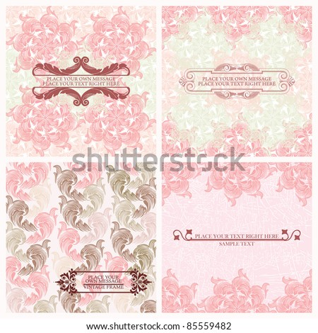 Set of wedding invitations card - stock vector