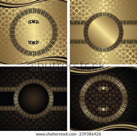 Set of wedding invitations on seamless background in gold and brown                    - stock vector