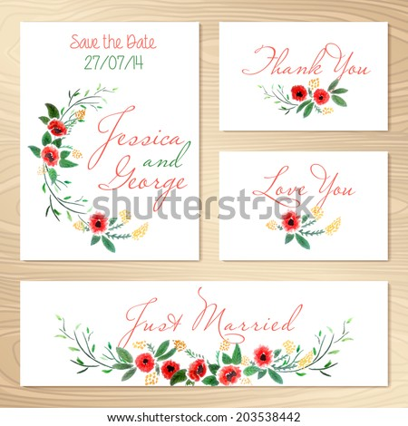 Set Of Wedding Invitations Template. Save The Date. Vector Illustration.