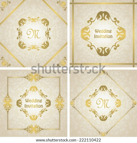 Set of wedding invitations with a gold frame. Original design        - stock vector
