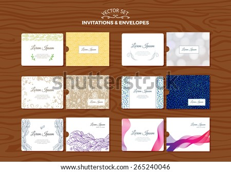 Set of Wedding Invitations with Envelopes. Vector Design Template.  - stock vector