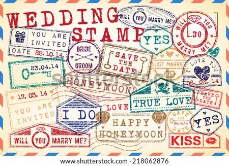 Set Of Wedding Postage Stamps - stock vector