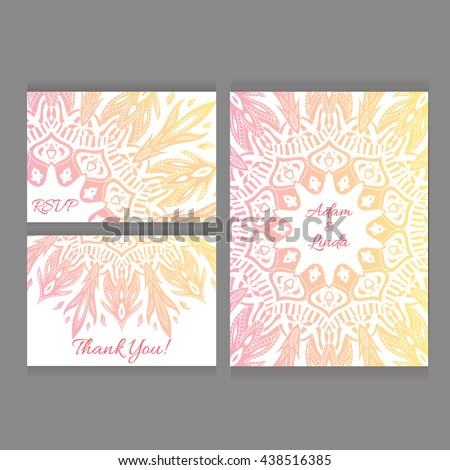 Set wedding save date invitation card stock vector royalty free set of wedding save the date invitation card templates with lace ornament vector background accmission Gallery
