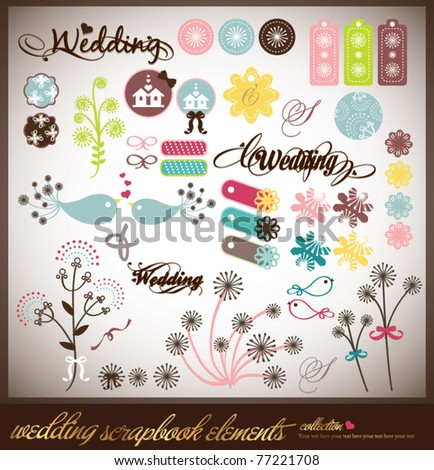 set of wedding scrap book or sticker collection