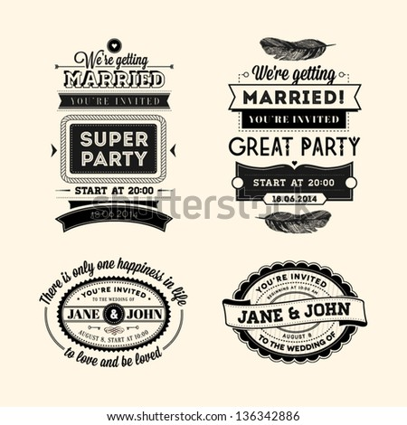 Set of wedding stamps - stock vector
