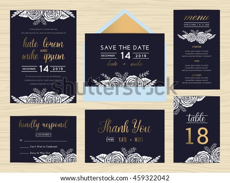 Set of wedding suite template decorate with white rose and golden text includes save the date, wedding invitation, wedding menu, RSVP, thank you card, table number. Vector illustration.