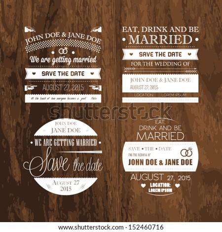 Set of wedding typography - stock vector