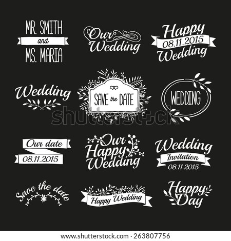 Set of wedding vintage retro logos, signs, labels, stickers. Typographical background with floral ornaments, ribbons, frames. Vector. - stock vector