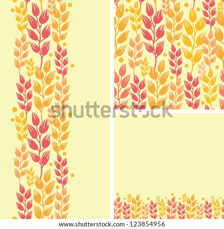 Set of wheat plants seamless pattern and borders backgrounds - stock vector