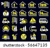 Set of white and yellow summer icons. - stock vector