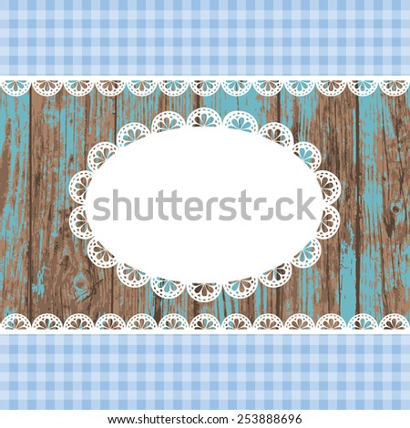 Set of white blank empty lace frame doily and ribbons blue checkered border on a  blue colored grunge wooden background. Vector illustration. - stock vector