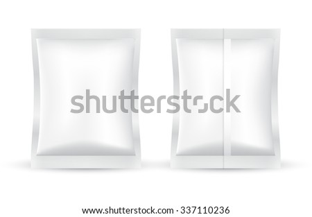 Set of White Blank Foil Packaging : Vector Illustration - stock vector