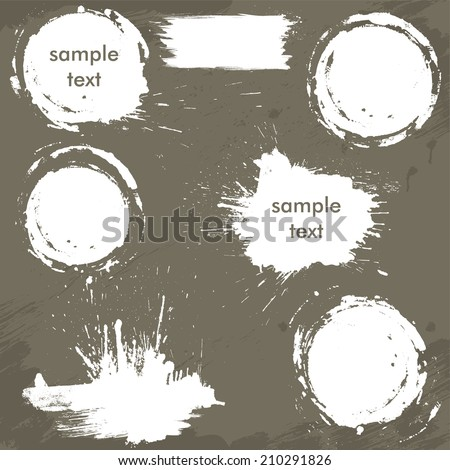 Set of white blots and ink splashes. Abstract elements for design in grunge style. Round frames. - stock vector