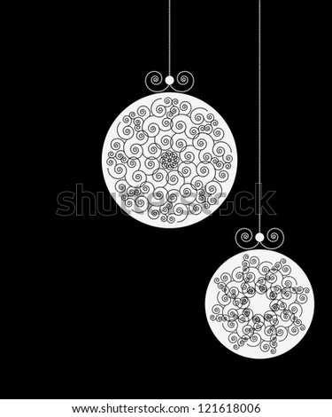 Set of White Christmas Ball Silhouettes on Black Background, Christmas ornaments. Vector illustration. Christmas balls collection hanging, black background isolated. Vector illustration.