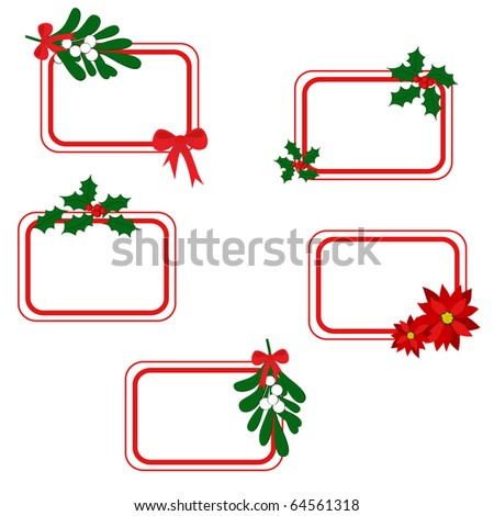 Set of white Christmas cards with holly berry, mistletoe, poinsettia and free space for your text (eps8)