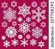 Set of White Christmas Snowflakes on Wine Red Background - stock vector