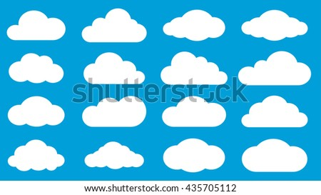 Set of white clouds on light blue background