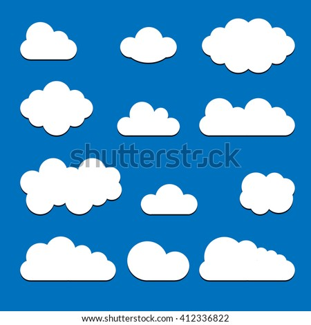 Set of white clouds with shadow isolated on blue background. Trendy modern flat sign Collection for your design, website, web button, banners, mobile app. Vector internet  logo. Network illustration  - stock vector