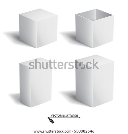 Set of white 3d cubes. White box. Vector for your graphic design.