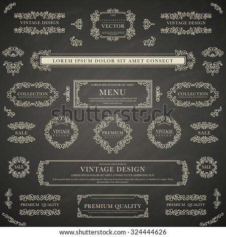 Set of white decorative vintage design elements for label, logo, emblem design on blackboard background - stock vector