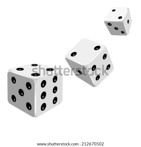 Set of white dices. Vector illustration. - stock vector