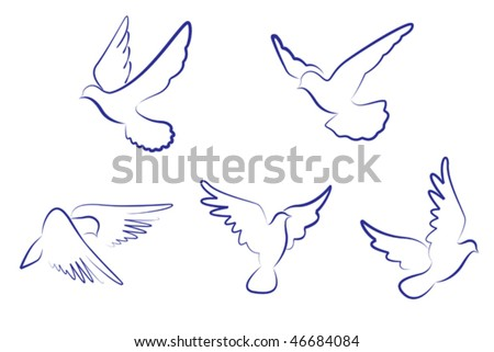 Set of white doves as a concept of love or peace, such as emblem or logo template. Jpeg version is also available - stock vector